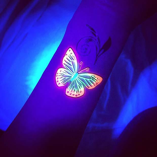 Glowing Butterfly Tattoo