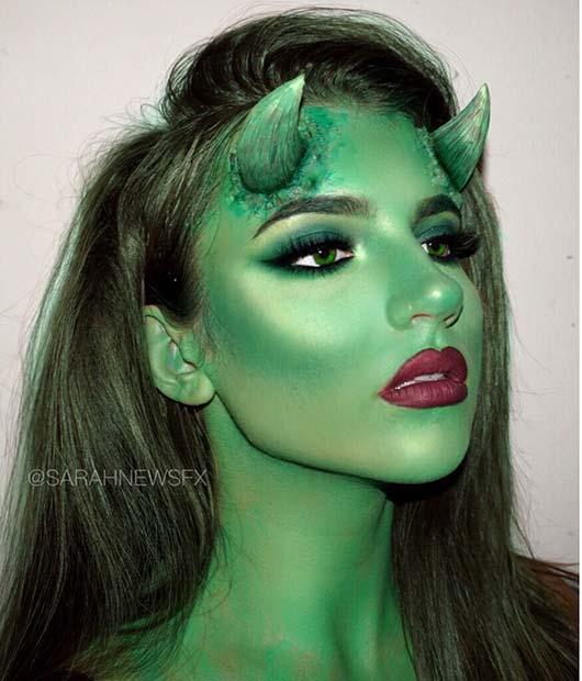 Green Demon Makeup with Horns