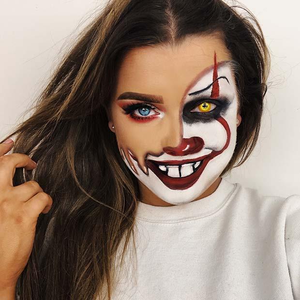 Half Human, Half Pennywise Makeup