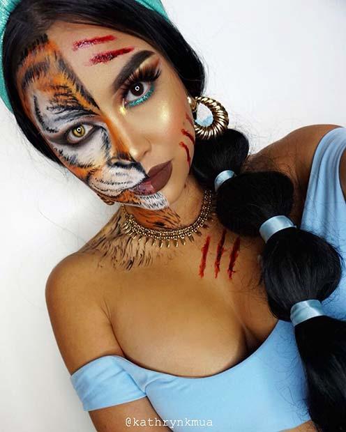 Half Tiger and Half Jasmine Makeup