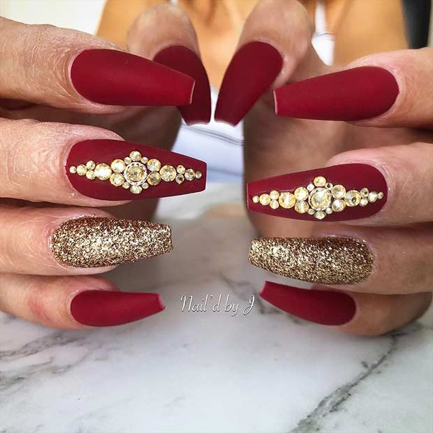 Matte Red Coffin Nails with Gold