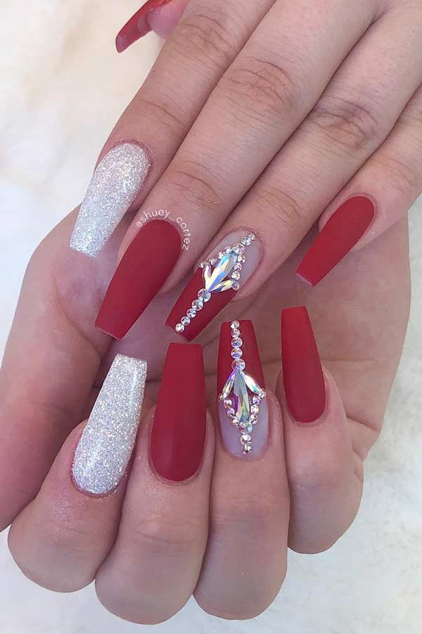 Matte Red and Glitter Nail Design