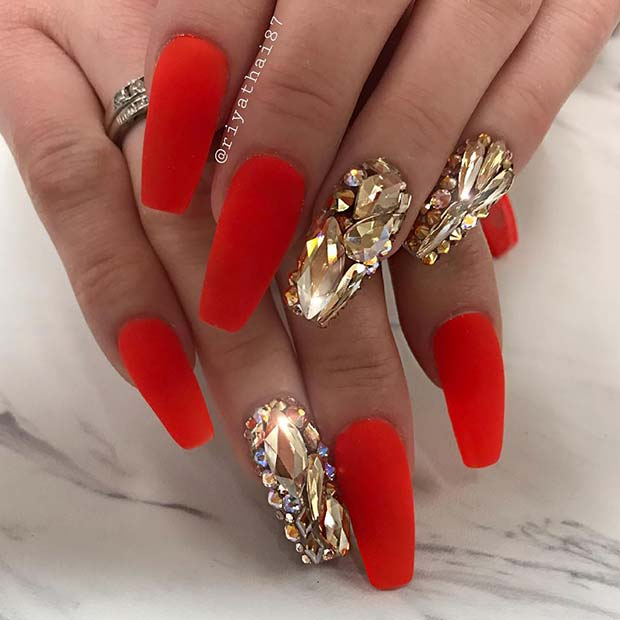 Matte Red Coffin Nails with Rhinestones