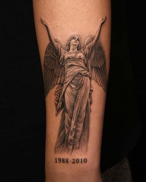 Memorial Angel Tattoo Design