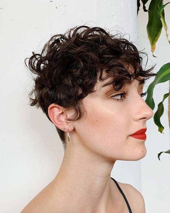 Edgy Curly Pixie Hairstyle