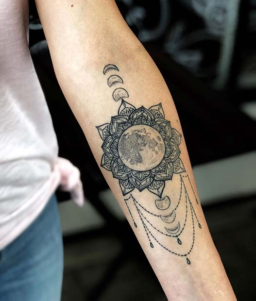 Moon Phase Design with a Mandala and Charms