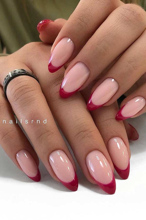 Nude Nails with Dark Red Tips