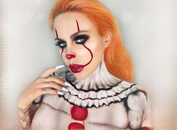 Pennywise Face and Body Makeup