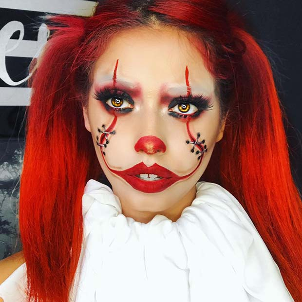 Pennywise Makeup with Stitches