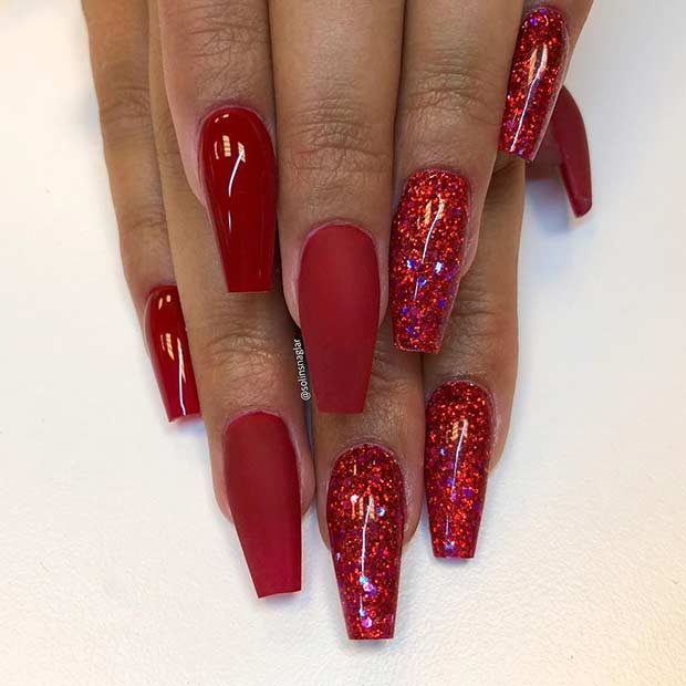 Perfect Red Coffin Nails