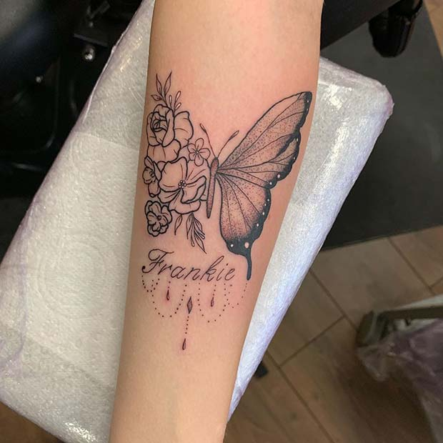 Personalized Floral Butterfly