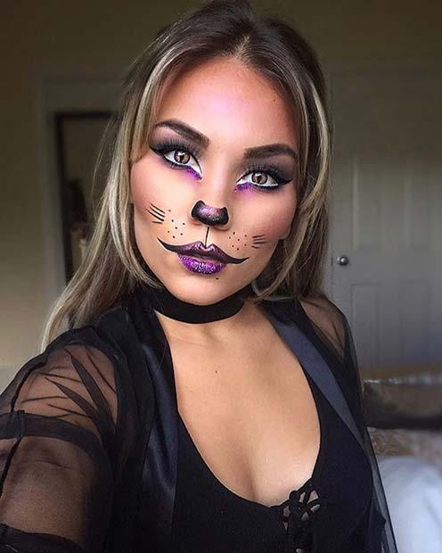 Pretty Purple Cat Makeup