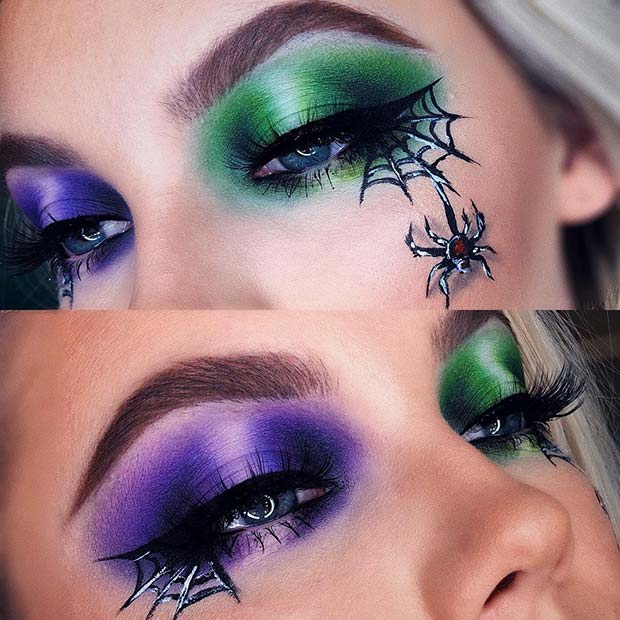 Purple and Green Eye Makeup with Spiders and Webs