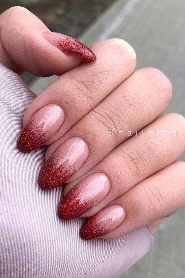 Red Glitter Ombre Nails