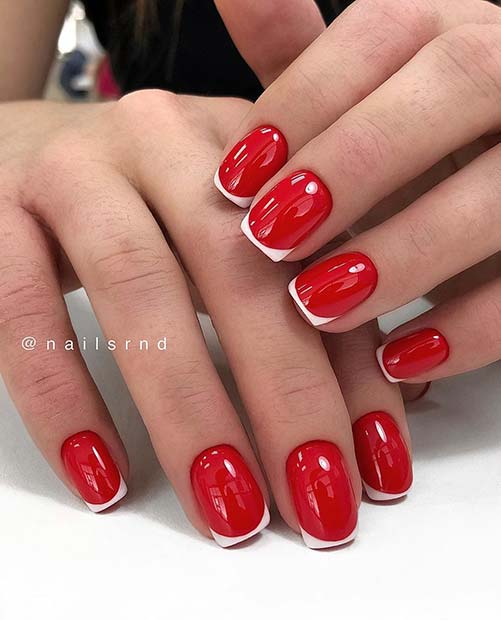 Red Nails with White Tips