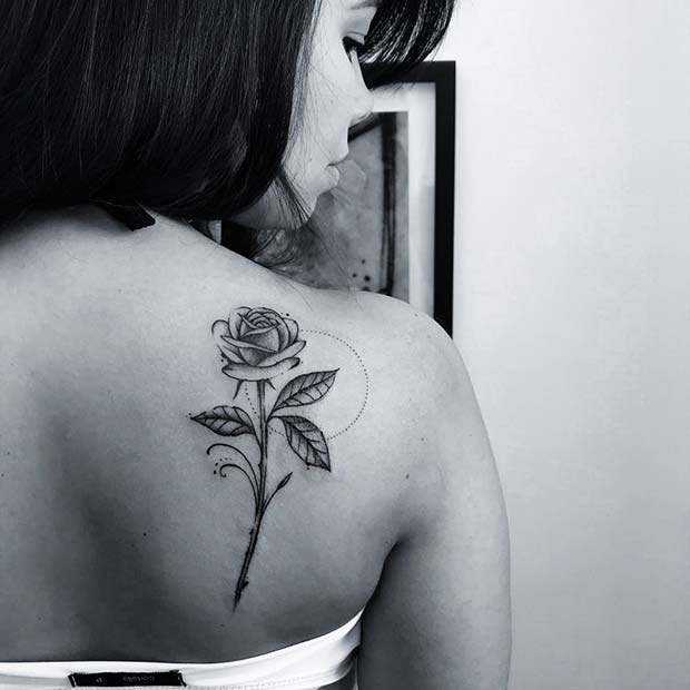 Rose Back Tattoo Idea