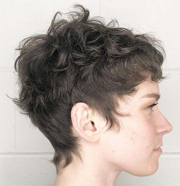 Short Pixie with Relaxed Curls