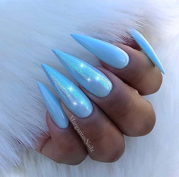 Sparkly Baby Blue Stiletto Nails