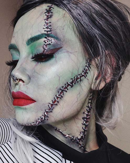 Spooky Frankenstein Makeup for Women