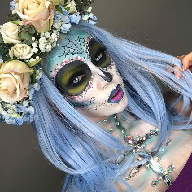 Spooky Sugar Skull with Gems