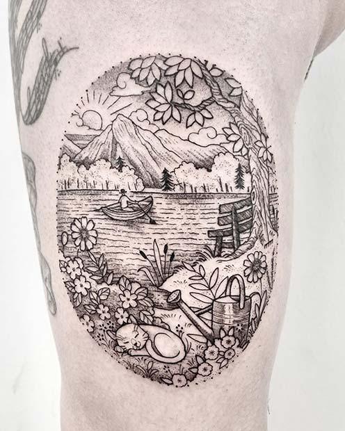Stunning Lake Inspired Tattoo