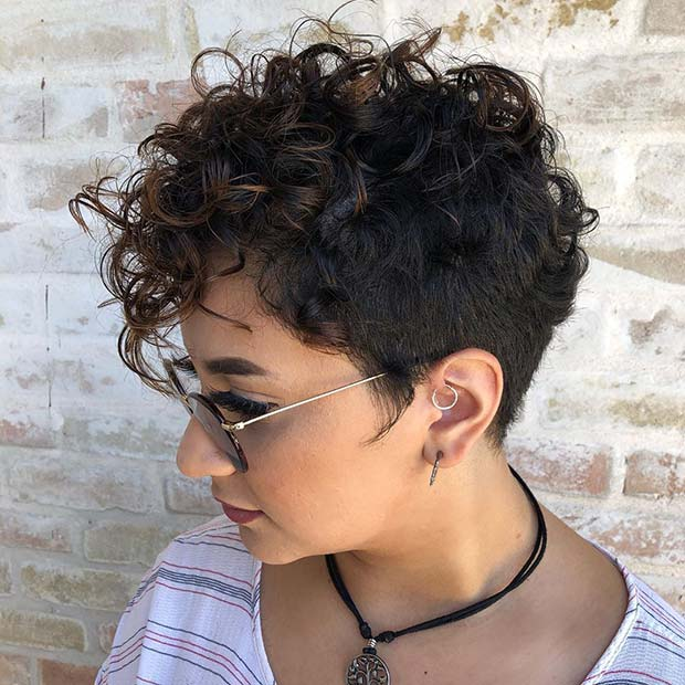 Curly Pixie Cut with Highlights