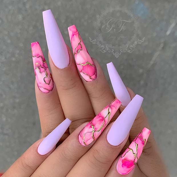 Matte Marble Coffin Nails