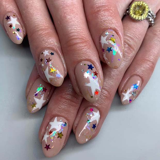 Star Sequin Birthday Nails