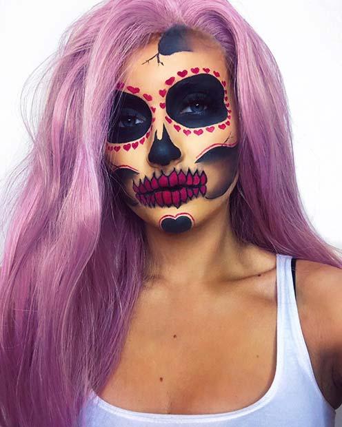 Sugar Skull Makeup with Hearts