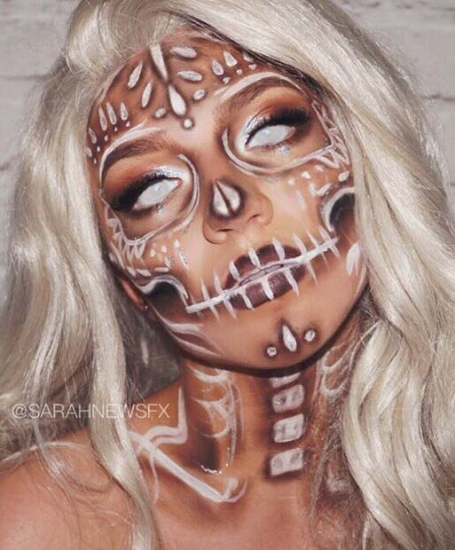 White Sugar Skull Makeup with Scary Contact Lenses