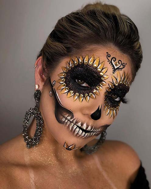 Sugar Skull Makeup with Sunflowers