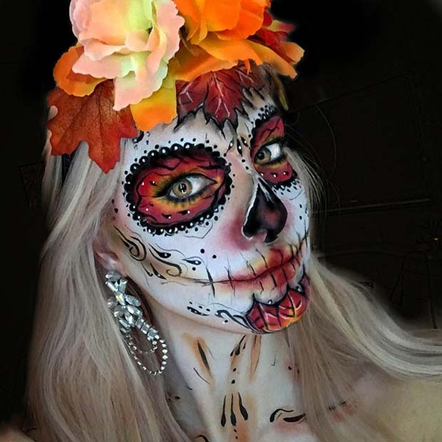 Sugar Skull Makeup with a Fall Theme