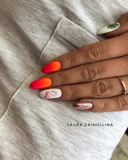 Summery Flamingo Nails