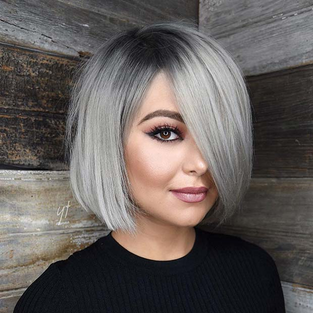 Silver Short Bob Haircut