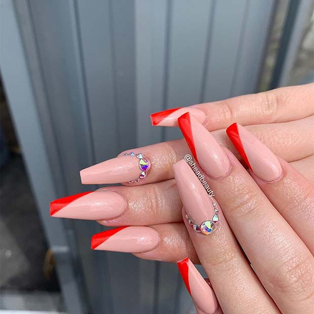 Nude and Red Coffin Nails