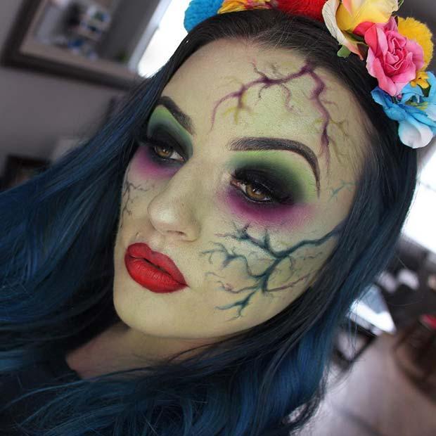 Unique Halloween Makeup with Flower Crown