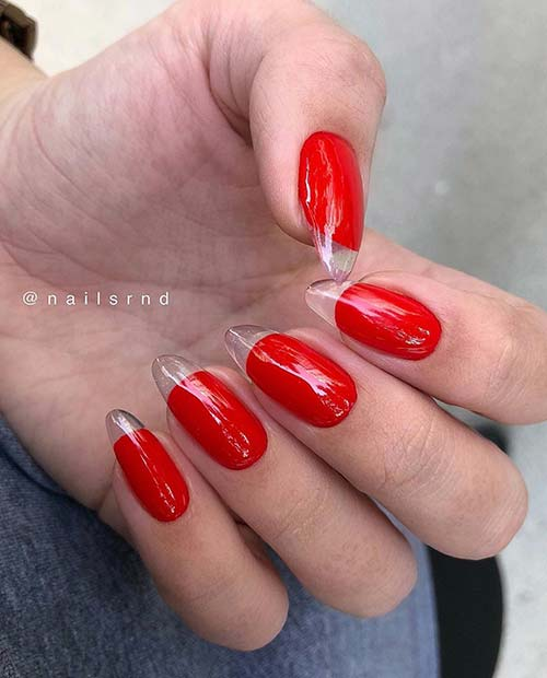 Unique Red Nails with Clear Tips
