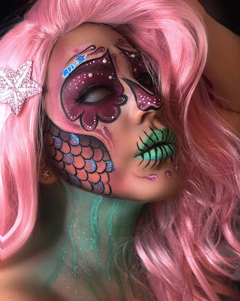 Unique Sugar Skull Makeup with a Mermaid Theme