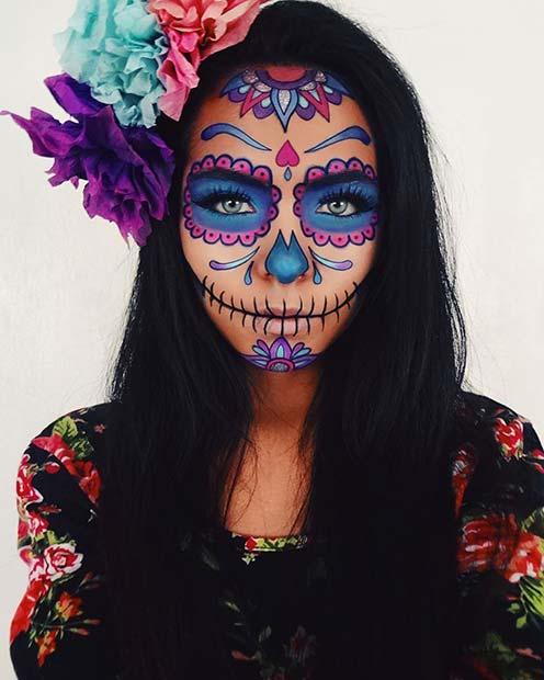 Vibrant Sugar Skull Makeup Idea