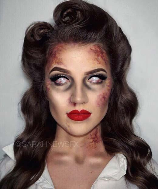 Vintage Style Zombie Halloween Makeup