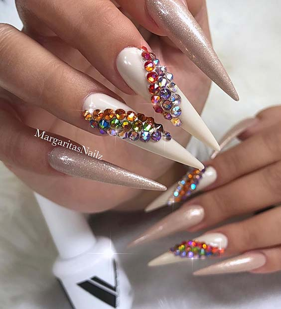 White Nails with Glam Gems