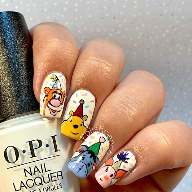 Winnie the Pooh Nails with a Birthday Theme