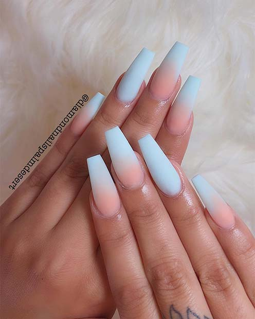 Matte Baby Blue Ombre Nails