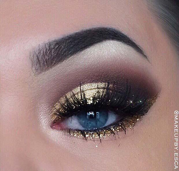 Beautiful Eye Makeup with Gold Glitter