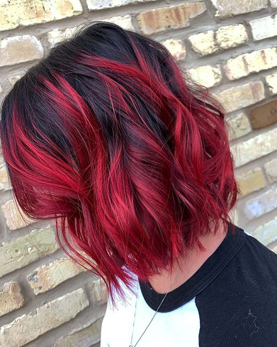 Black Bob with Bold Red Color