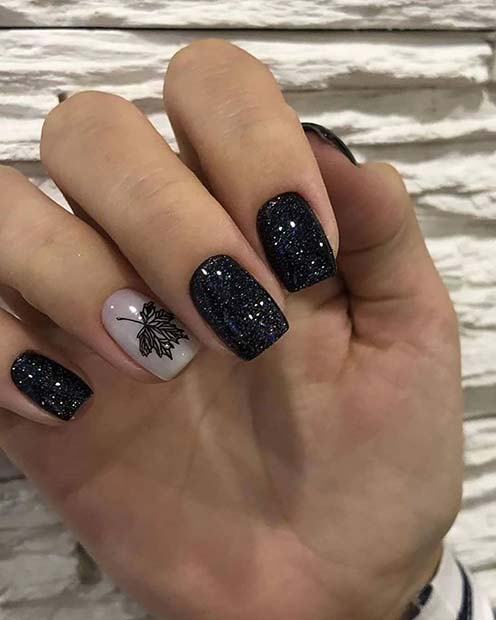 Black Glitter Shellac Nails
