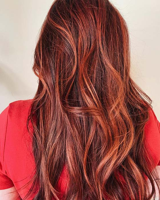 Black Hair with Ginger Highlights