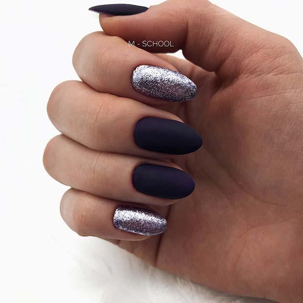 Black Matte and Glitter Nails