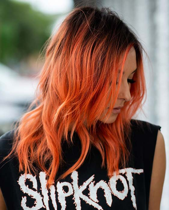 Black Roots and Bright Orange Color