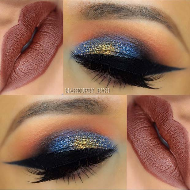 Blue Eye Makeup and Neutral Lip Color